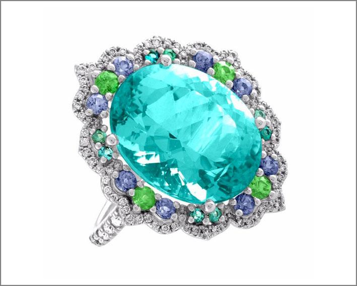 Anello con tormalina Paraiba blu-verde neon, con granati verdi