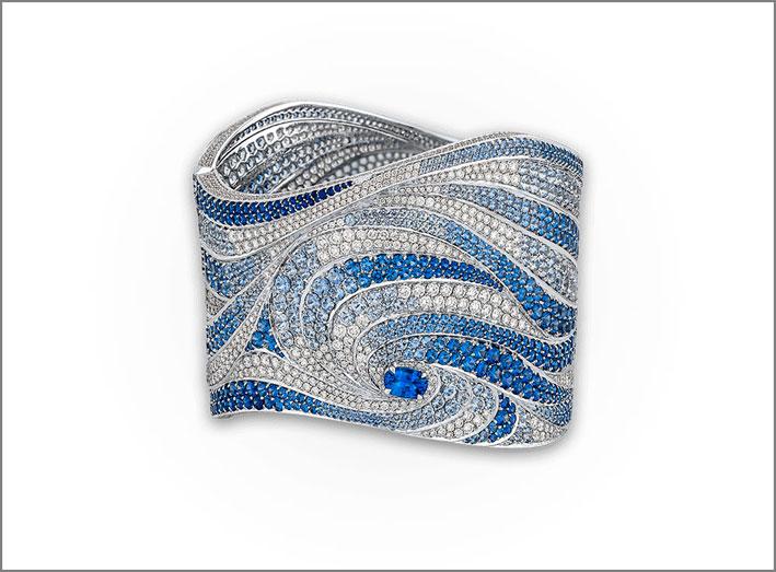 Bracciale della collezione Oceania con diamanti e zaffiri