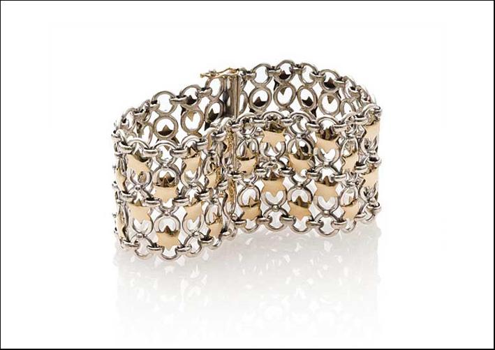 Bracciale a maglia medievale in argento e oro. Prezzo: 1315 euro