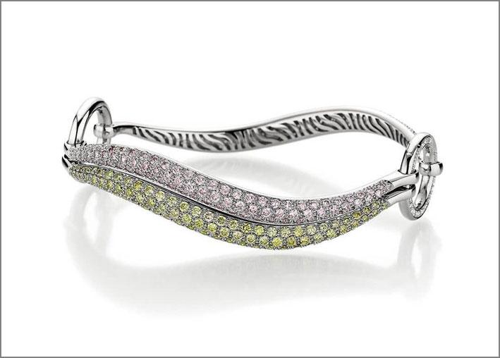 Bracciale 2Play con diamanti bianchi, rosa grigi, oliva