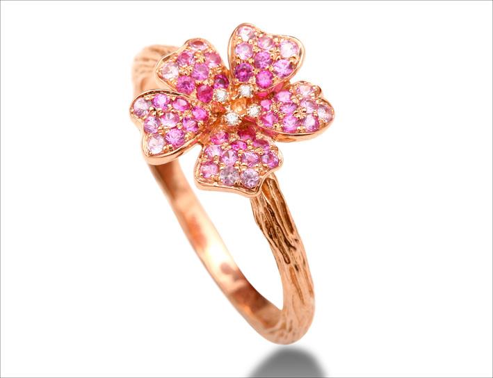 Anello Cherry Blossom, oro rosa, zaffiri rosa, diamanti