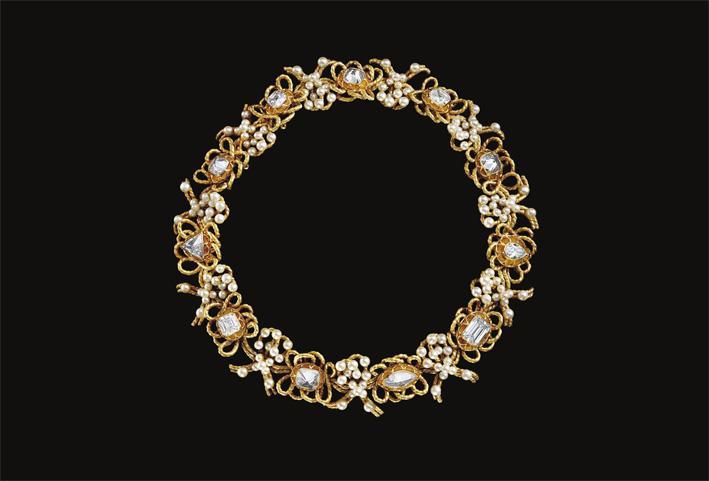 Le Carcan, collana con oro perle naturali e diamanti