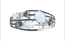 Bracciale Diatonic, con pietra luna, quarzo, diamanti neri, oro bianco