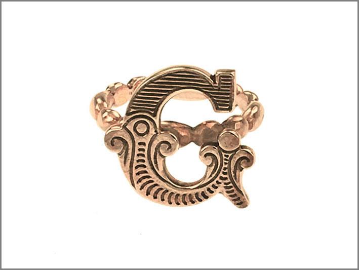 Anello Carosello, oro rosa, monogramma G