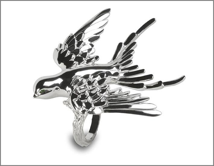 Morpée Joaillerie, anello in oro bianco e tsavoriti