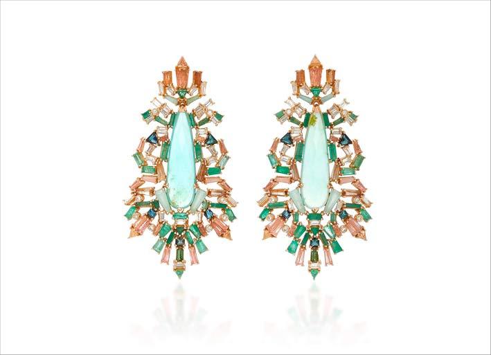 Orecchini con opale peruviano azzurro