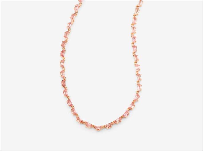 Collana in oro rosa e tormaline rosa