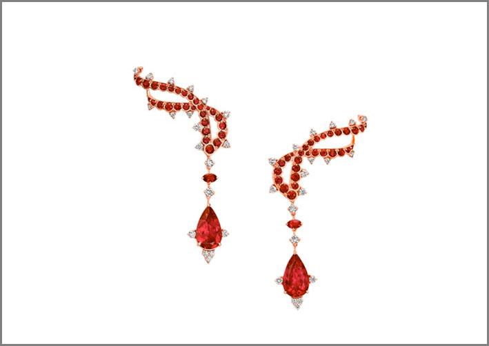 VanLeles, orecchini con rubellite, rubini, diamanti