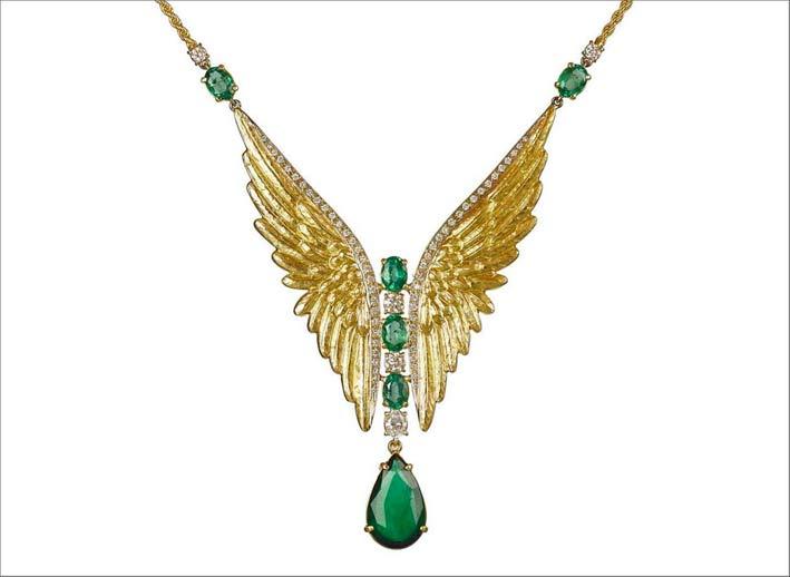 Pendente per collana in oro giallo e smeraldi