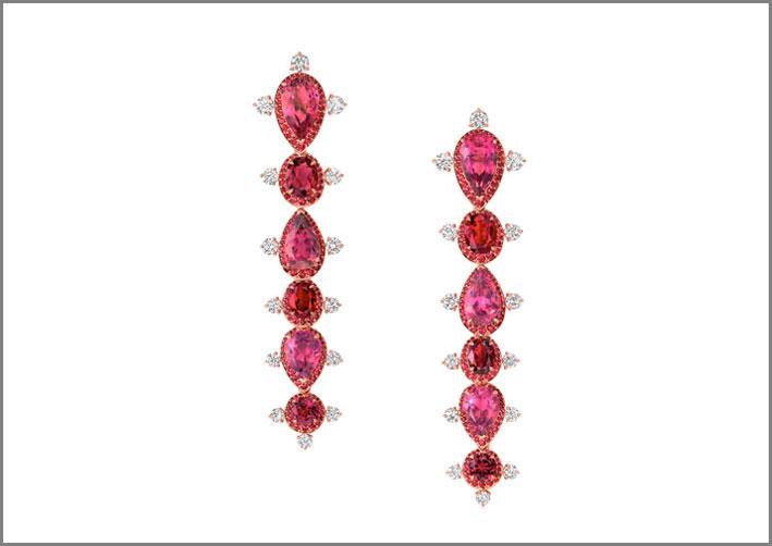 Orecchini con rubellite, rubini, diamanti