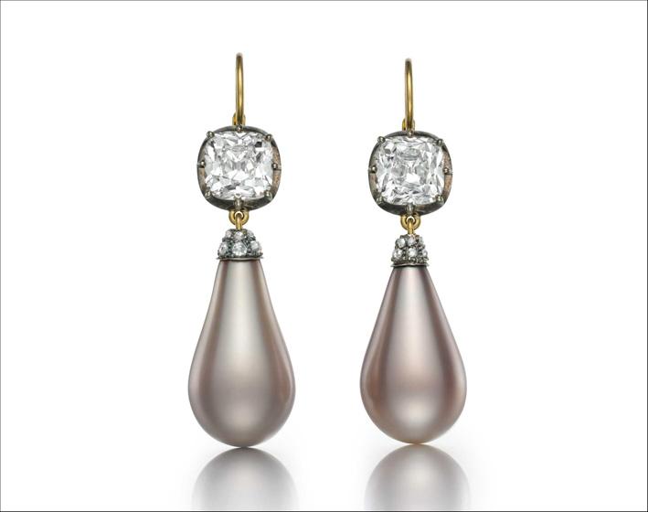 Orecchini con perle naturali e diamanti appartenuti alla imperatrice Eugenia di Francia