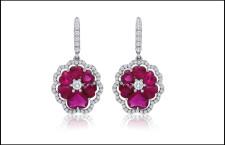Orecchini in platino con rubini e diamanti