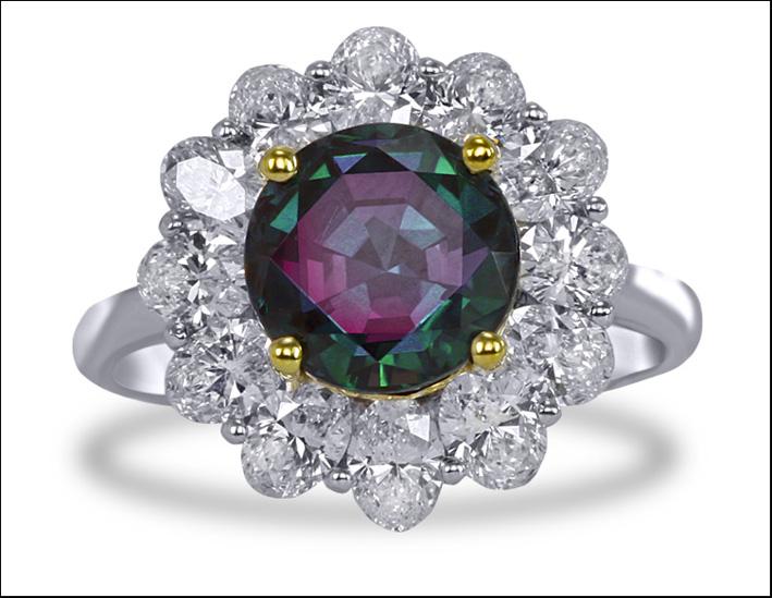 Anello della collezione Aristocrat, in oro bianco e diamanti, alessandrite taglio brillante