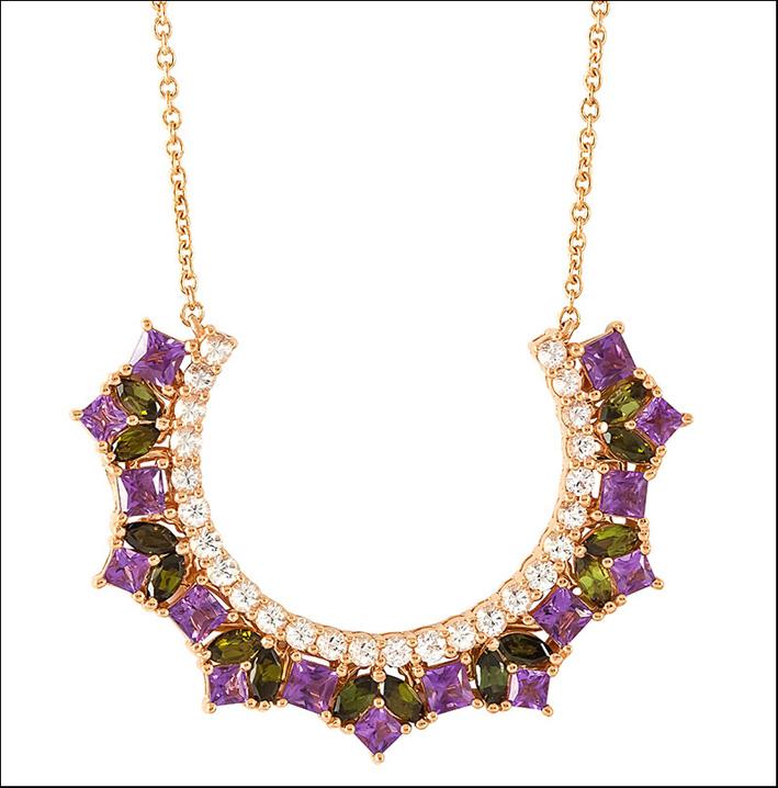 Collana in oro, zaffiri rosa, tormalina, diamanti