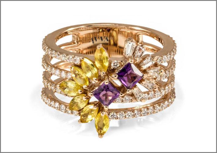 Alina, anello triplo in oro, zaffiri gialli, ametista, diamanti