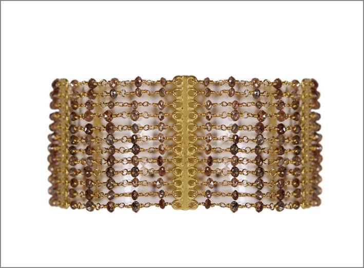 Braccialetto in oro  e diamanti brown