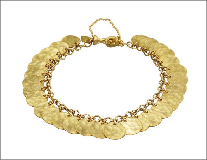 Braccialetto con dischi in oro martellato 18 carati