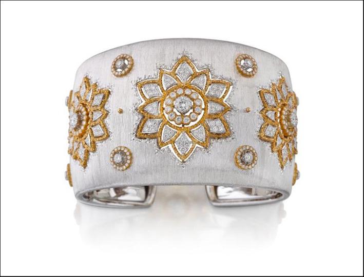 Bracciale in oro bianco e giallo con diamanti