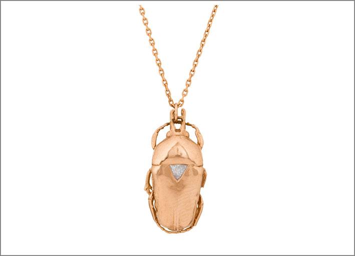 Collana in oro roso con diamante trillian
