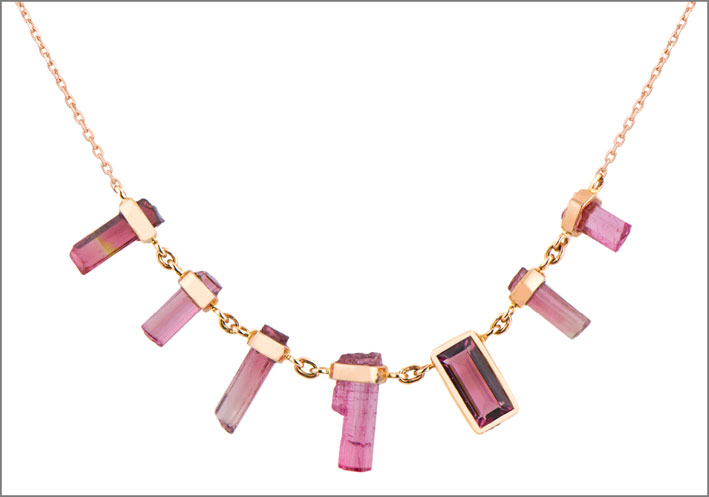 Collana in oro rosa con tormaline baguette
