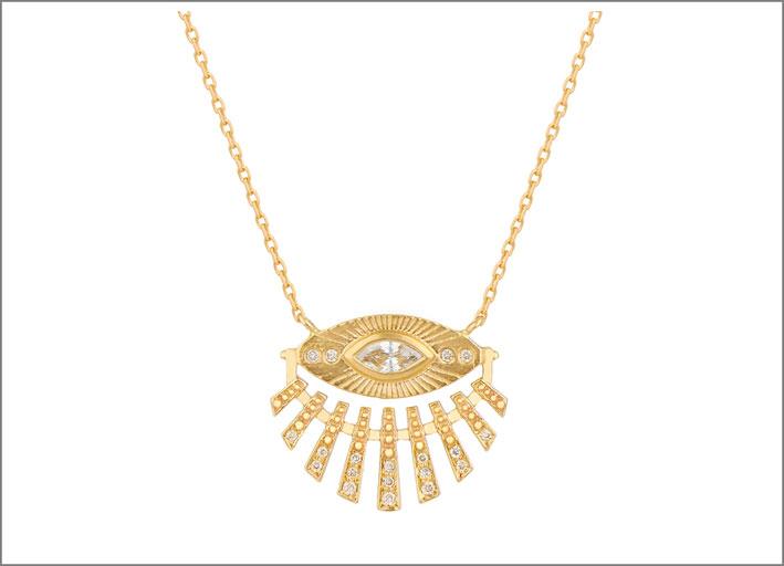 Collana in oro giallo a forma di occhio-sole con diamanti