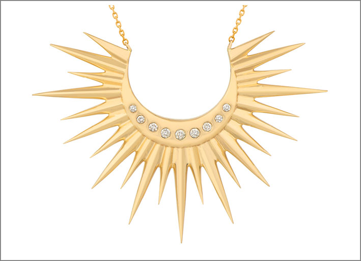 Collana Stars and Universe Full Sun, in oro giallo e diamanti