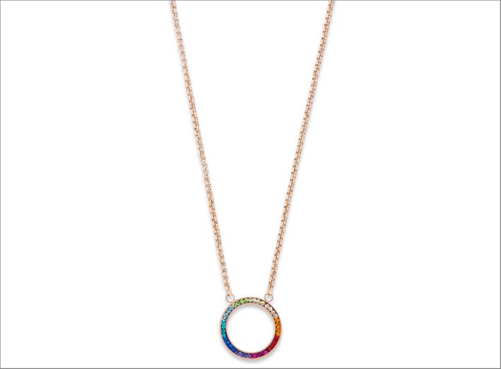 Collana con cerchio di cristalli multicolori