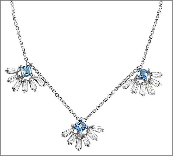 Collana in oro bianco, diamanti, acquamarine