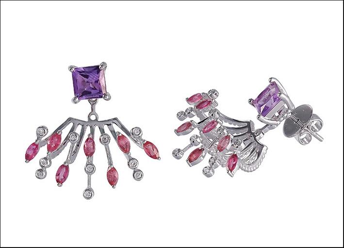 Orecchini con diamanti, ametiste e tormalina rosa