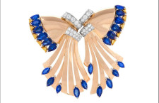 Spilla in oro rosa con zaffiri e diamanti