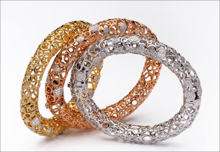 Bracciali in oro giallo, rosa e bianco