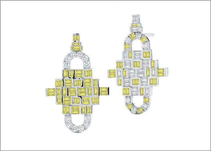 Orecchini Diamond Puzzle, com diamanti bianchi e gialli