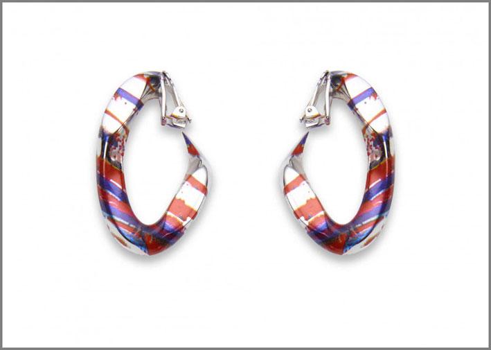 Broken chain earrings, bronzo placcato e colorato