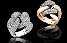 Anelli catena in oro bianco, giallo e diamanti