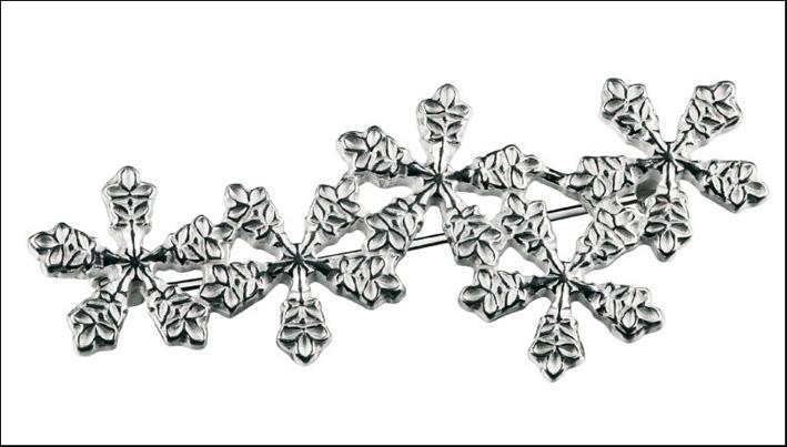 Spilla cristalli di neve, argento