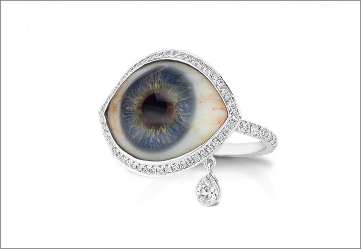 Anello a forma di occhio com diamante