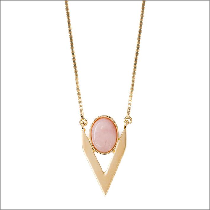 Collana V in oro e opale rosa