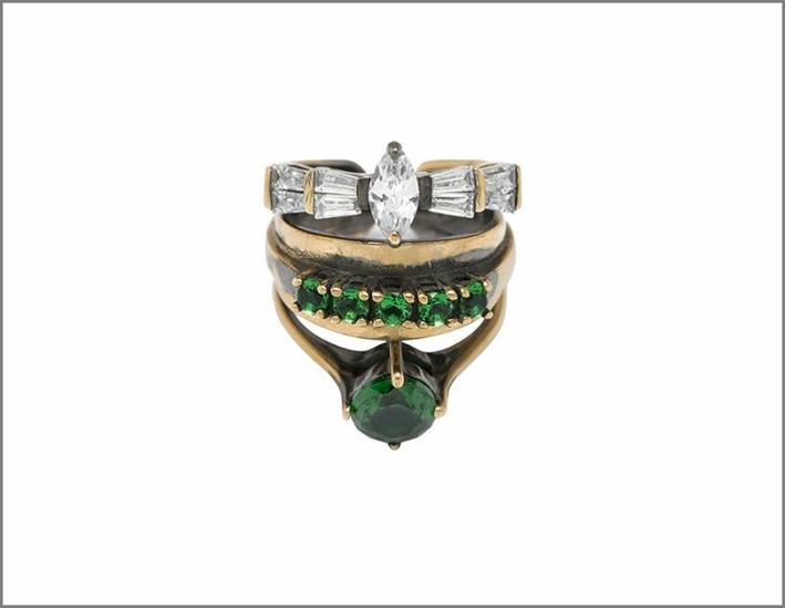 anello multi strato con zirconi