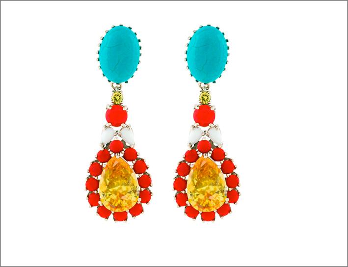 Orecchini in ottone placcato oro 10 carati con zirconi gialli, ovali turchesi e pietre colorate