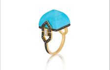 Doryn Wallach, anello con turchese e diamanti neri