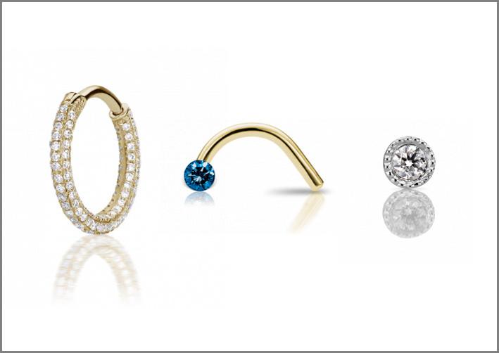 Anelli per narice: oro giallo e diamanti, oro giallo e diamante blu, platino e diamante