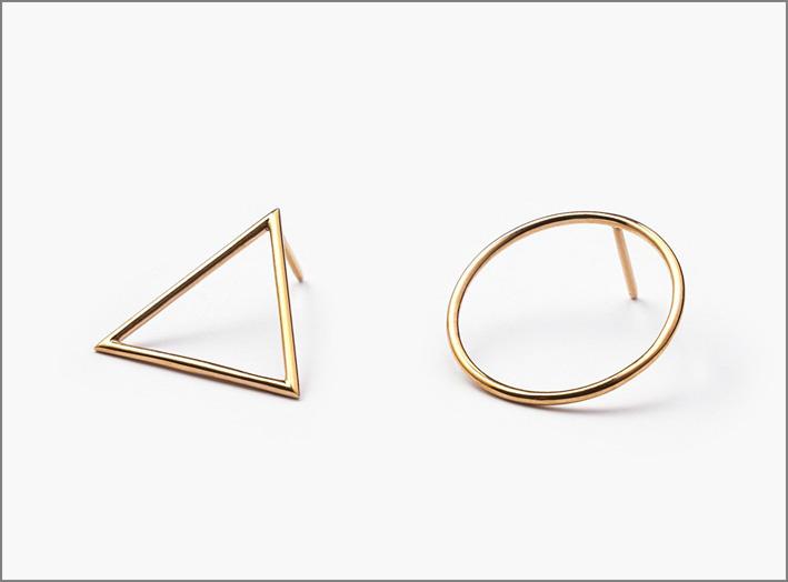 orecchini gemetrici in argento sterling, bronzo oppure oro 14 carati