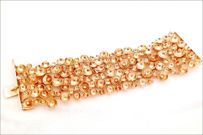 Bracciale Ninfee in oro rosa e diamanti
