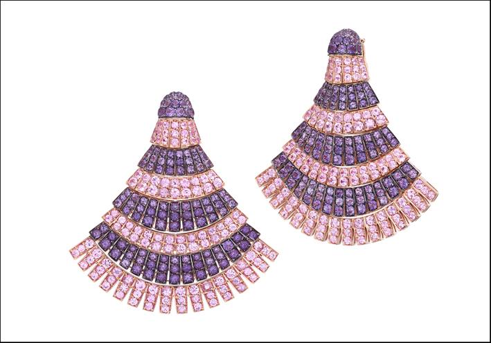 Collezione Ventaglio, orecchini con zaffiri rosa e ametiste