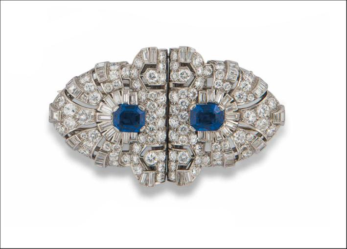 Spilla-anello Art Deco con diamanti e zaffiri