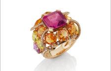 Anello Paratii in oro rosa, rubellite di 8,85 carati, zaffir rosa, zaffiri gialli, diamanti