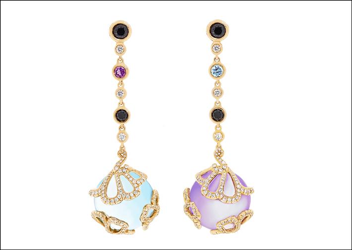Collezione Anemone: orecchini in oro, diamanti, zaffiro, onice