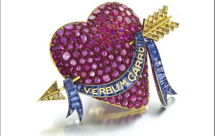 Spilla a cuore in oro e rubini