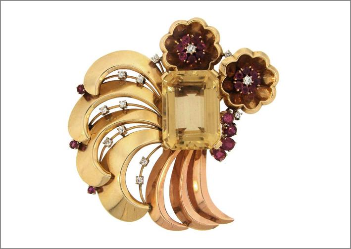 Paul Flato, spilla in oro com con citrini, rubini, diamanti