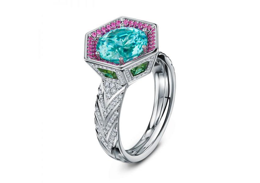 Collezione Chapiteau, anelli con diamanti, tormalina Paraiba, zaffiri